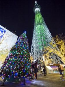 ソラマチクリスマスマーケットのクリスマスツリー