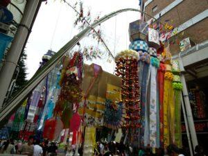 仙台七夕の笹飾り