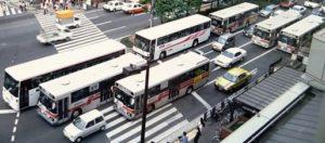 西鉄バスの群れ